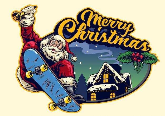 Santa claus ride skateboard with christmas greeting