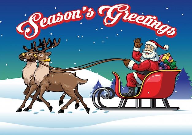 Santa claus ride a sleigh