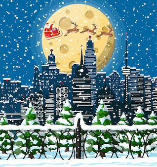 Santa claus rides reindeer sleigh. christmas winter cityscape, snowflakes and trees.
