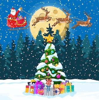 サンタクロースはトナカイのそりのイラストに乗る