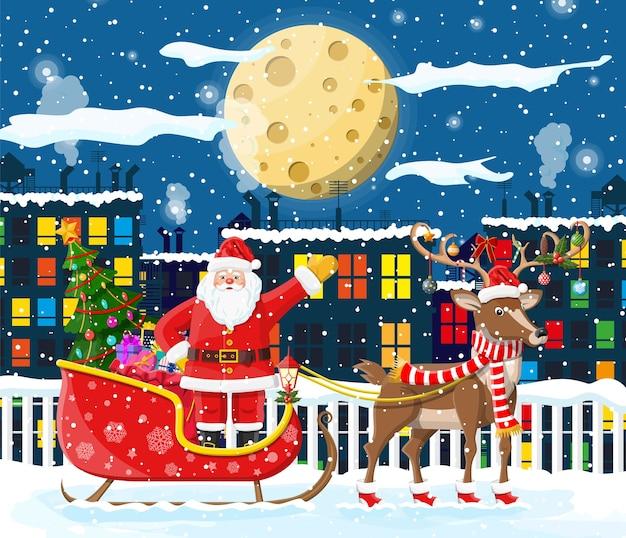 Santa claus rides reindeer sleigh illustration