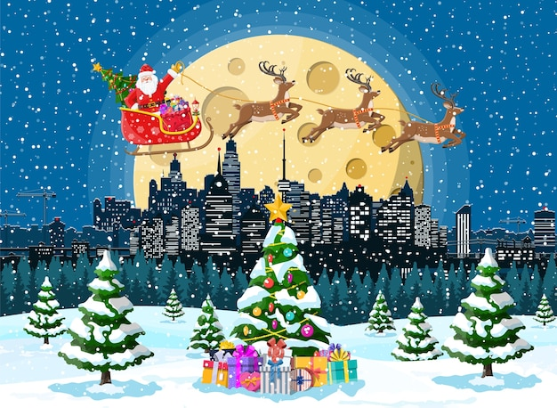 Santa claus rides reindeer sleigh.