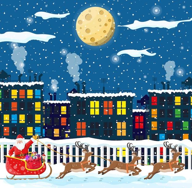 Santa claus rides reindeer sleigh
