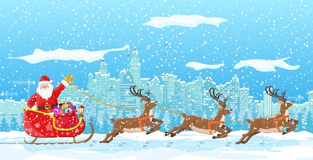 サンタクロースがトナカイのそりに乗る