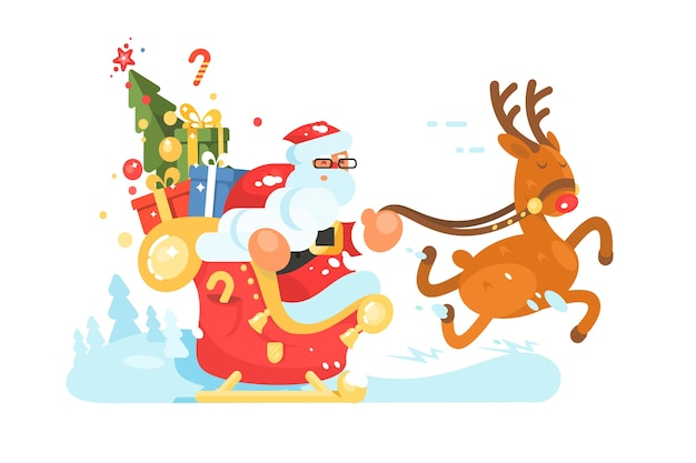 Santa claus rides in sleigh with gift boxes on deer.