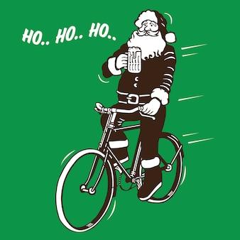 Santa claus riding bike
