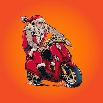 Santa claus riding illustration