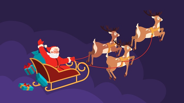 サンタクロースがトナカイのそりに乗って夜に飛んでいます。クリスマス漫画イラスト。手を振って笑顔のサンタ。