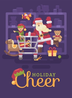Santa claus riding shopping cart in supermarket