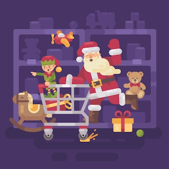 Santa claus riding a shopping cart