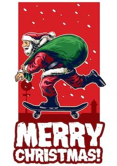 Santa claus riding skateboard christmas card design