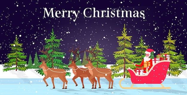Santa claus riding in sledge with reindeers merry christmas happy new year winter holidays celebration concept snowy forest landscape background