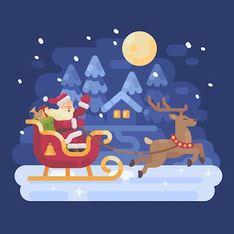 Santa claus riding in a sleigh drawn by reindeer