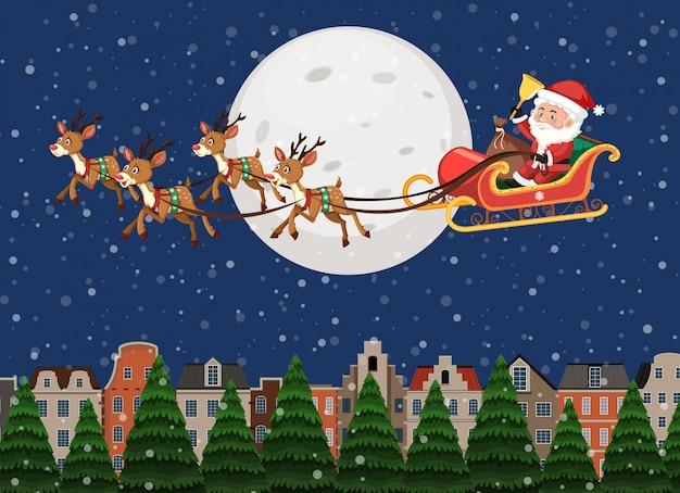 Santa claus riding sleigh over town