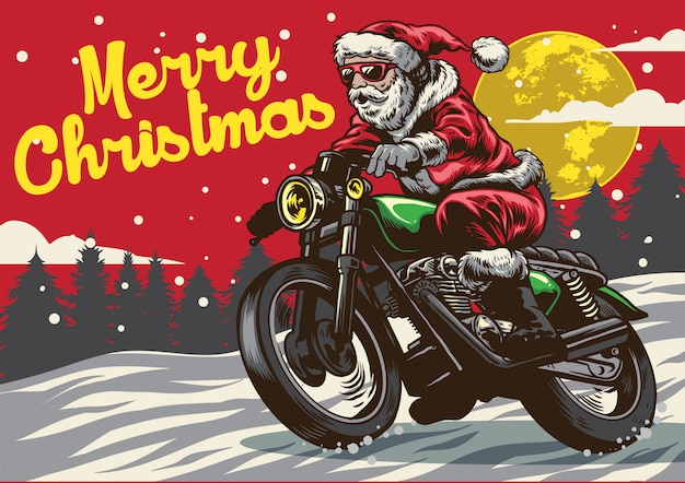 Santa claus riding vintage motorcycle