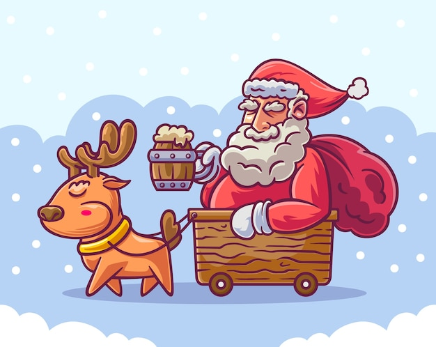 Santa claus riding wooden cart bring beer glass and pulled by deer
