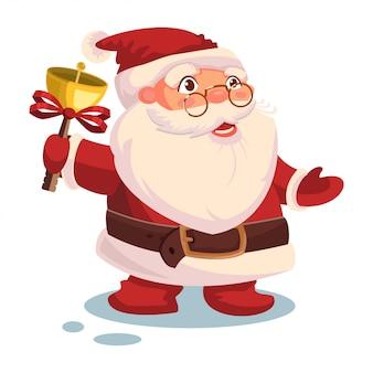 Santa claus ringing a bell. vector christmas cartoon character isolated