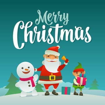Santa claus rings the bell, the snowman waves his hand, the elf holds a gift. merry christmas calligraphy lettering. flat color vector illustration. forest landscape with hills with fir tree.