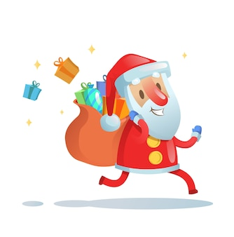Santa claus on the run to deliver christmas gifts. colorful flat illustration.