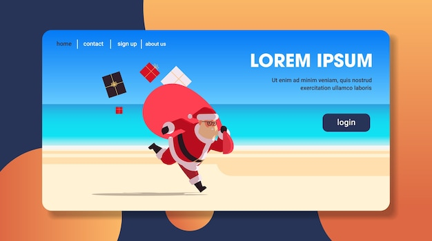 Santa claus running with big sack full of gifts happy new year christmas vacation holiday celebration concept tropical beach seascape landing page