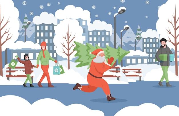 Санта-клаус работает с елкой