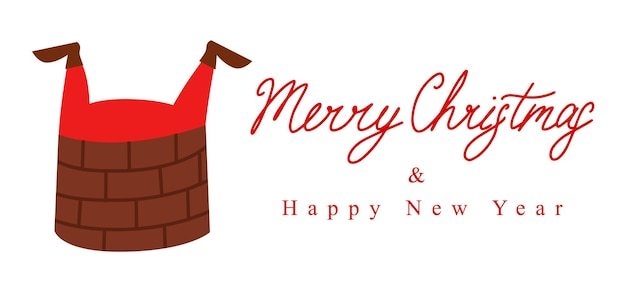 Santa claus s feet are sticking out of the pipe lettering merry christmas