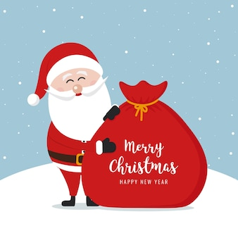 Santa claus sack merry christmas gretting text snowy background