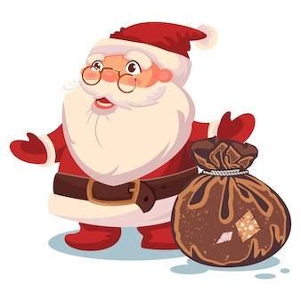 Santa claus and sack with gifts