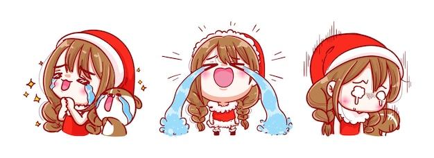 メリークリスマスに孤立したサンタクロースの悲しみと泣き声