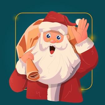 Санта-клаус санта радостно помахал, неся мешок с подарками