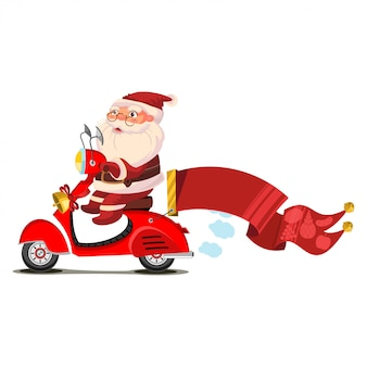 Santa claus on a scooter with a red banner cartoon character isolated on white