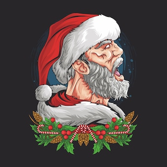 Santa claus screamed with an angry face
