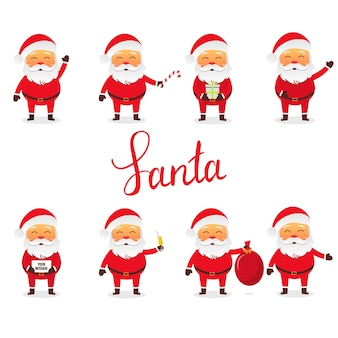 Santa claus set in different poses with some objects