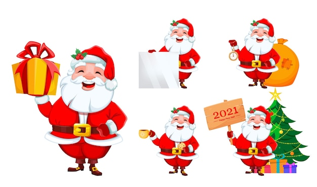 Santa claus, set of five poses. merry christmas and happy new year