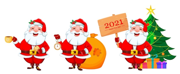 Santa claus set of three poses merry christmas and happy new year