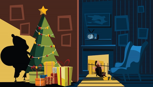 Santa claus shadow in living room vector illustration