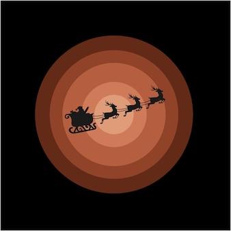 Санта-клаус силуэт логотип иллюстрации в небе вектор