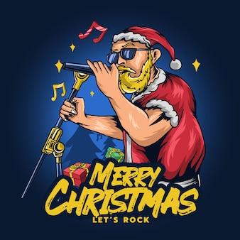 Санта-клаус поет на рождество