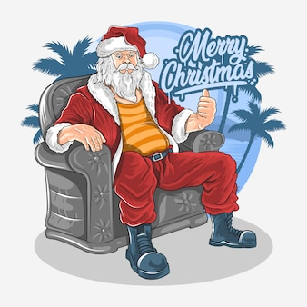Santa claus sit down on sofa chair illustration vector