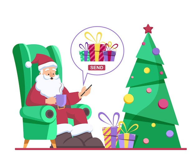 Santa claus sits in a chair and sends christmas presents in a mobile app
