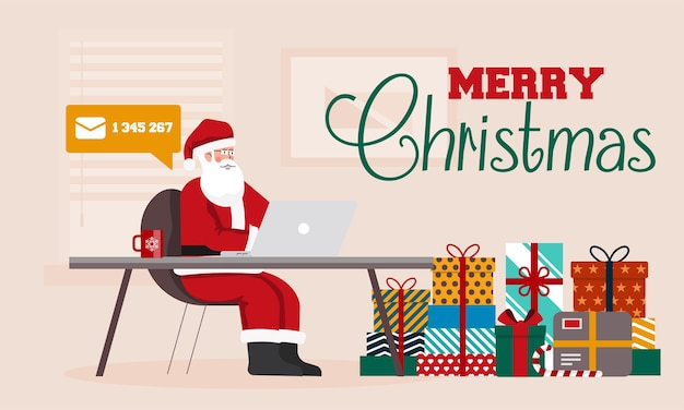Santa claus sitting at the desk in his office filled with parcels for children. santa with a laptop checking emails. merry christmas background.