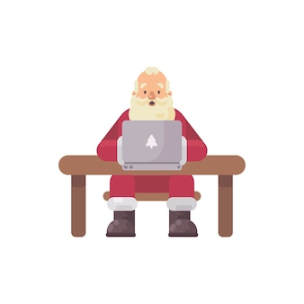 Santa claus sitting at his desk reading mail on a laptop. christmas character flat illustration