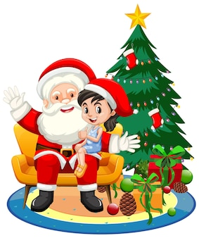 Santa claus sitting on his lap with cute girl on white background