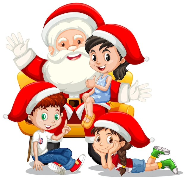 Santa claus sitting on his lap with many kids on white background