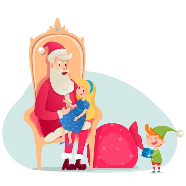 Санта-клаус сидит на кресле, девушка рассказывает стихи, эльф держит подарок.