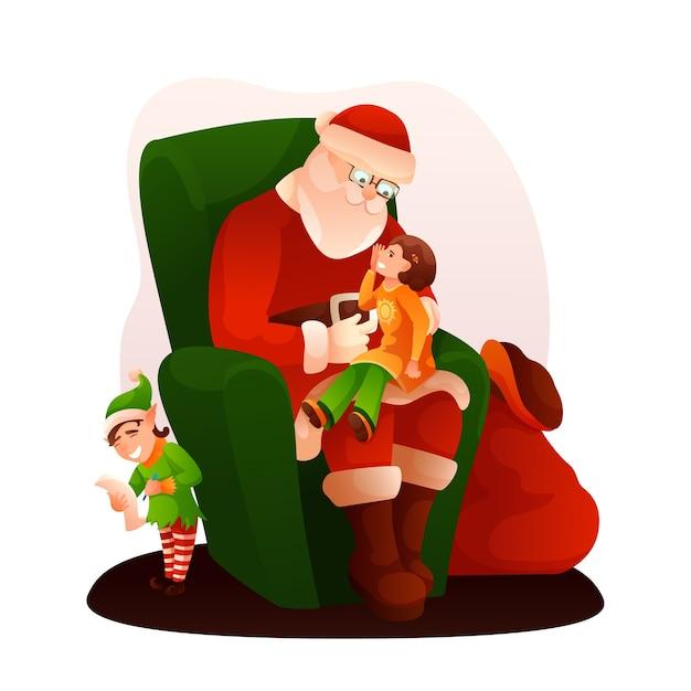Санта-клаус сидит на кресле, девочка рассказывает стихи.