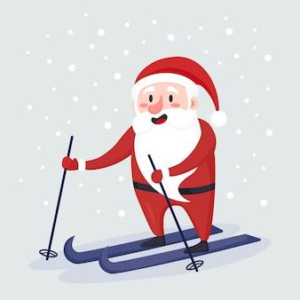 Дед мороз катается на лыжах и спешит на рождественский праздник с подарками для детей. веселого рождества и счастливого нового года. праздничная открытка