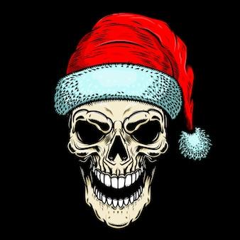 Santa claus skull on black background