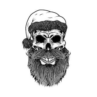 Санта-клаус череп. элемент для плаката, карты, футболки. иллюстрация