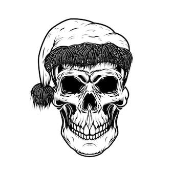 サンタクロースの頭蓋骨。ポスター、カード、tシャツの要素。図